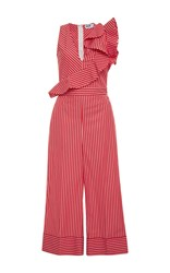 Msgm Ruffle Trimmed Striped Jumpsuit Pink