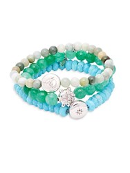 Anzie Set Of Three Boheme Green Jade Turquoise White Topaz And Sterling Silver Beaded Bracelets Green Multi