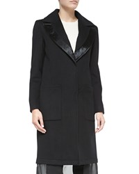 Abs By Allen Schwartz A.B.S. Wool Coat W Leather Trim And Chiffon Hem Black