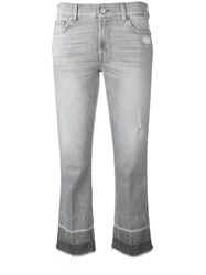 7 For All Mankind Cropped Boot Unrolled Jeans Grey