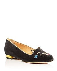 Charlotte Olympia Lol Kitty Embroidered Velvet Flats Charcoal Gray