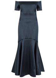 Temperley London Midi Onyx Off The Shoulder Satin Dress Navy
