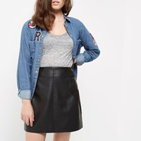 River Island Womens Petite Black Panel Leather Look Mini Skirt