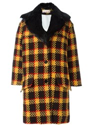 Marni Checked Single Breasted Coat Black