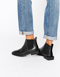 Selected Femme Silvia Black Flat Leather Chelsea Boots Black