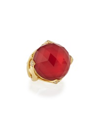 Stephen Webster Round Red Coral And Quartz Jewelvine Ring W Diamonds