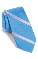 The Tie Bar Leland Stripe Silk And Linen Classic Blue