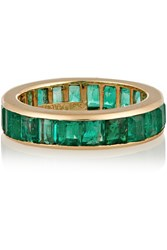 David Webb 18 Karat Gold Emerald Eternity Ring
