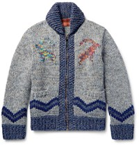 Missoni Intarsia Woo Apaca And Cashmere Bend Cardigan Gray