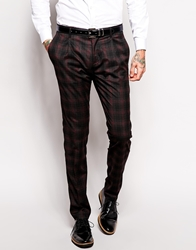 Sisley Slim Fit Suit Trousers In Check Burgundycheck