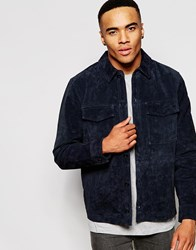 New Look Shirt Jacket In Suede Navy
