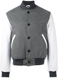 Thom Browne Varsity Bomber Jacket Grey