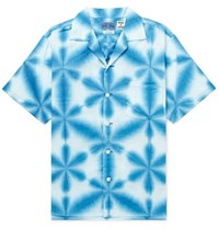 Blue Blue Japan Camp Collar Tie Dyed Cotton Canvas Shirt Blue