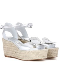 Roger Vivier Corda Chips Metallic Leather Wedge Sandals Silver