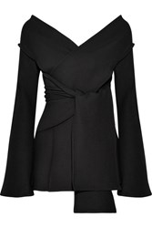 Beaufille Leonis Stretch Twill Wrap Top Black