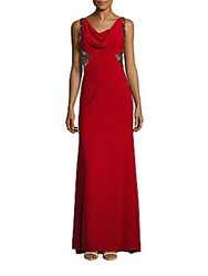 Carmen Marc Valvo Infusion Embellished Cowlneck Gown Red