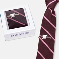 Soxfords Silk Knit Tie And Hand Finished Tie Bar Set Multi