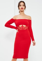 Missguided Red Crepe Bardot Lace Waist Insert Midi Dress