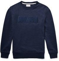 Saturdays Surf Nyc Bowery Bar Embroidered Loopback Cotton Jersey Sweatshirt Blue