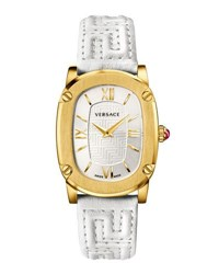 Versace 30Mm Couture Oval Watch W Leather Strap Golden White