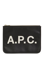 A.P.C. Logo Printed Faux Leather Pouch Black