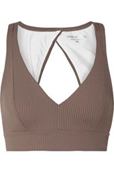 Year Of Ours Veronica Cutout Ribbed Stretch Sports Bra Taupe