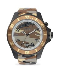 Kyboe Stainless Steel Desert Camouflage Silicone Strap Watch Brown Camo