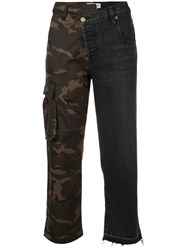 Monse Denim And Camouflage Patchwork Jeans Grey