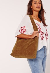 Missguided Slouch Faux Suede Tote Bag Tan