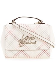 Love Moschino Stitched Logo Shoulder Bag Women Polyurethane One Size White