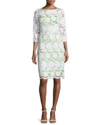 Sue Wong 3 4 Sleeve Lace Sheath Cocktail Dress Women's