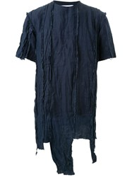 Matthew Miller Idaho Destroyed Linen Oversized T Shirt Blue