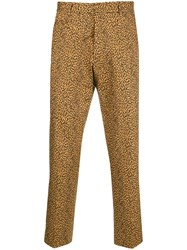 R 13 R13 Leopard Printed Cropped Trousers Nude And Neutrals