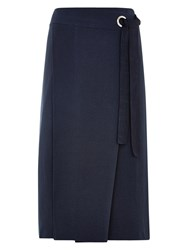 Louche Emann Midi Tie Side Wrap Skirt Navy