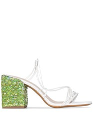 Jacquemus White Estello 70 Sequin Heel Leather Mules 60