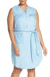 Plus Size Women's Foxcroft Belted Sleeveless Denim Shirtdress