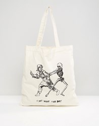 Asos Tote Bag With Want Your Body Print White
