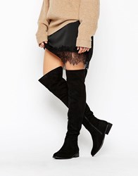 Truffle Collection Over Knee Flat Boot Black Micro
