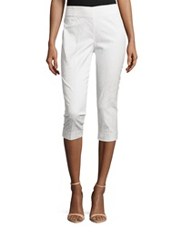 Neiman Marcus Cropped Jacquard Pants White