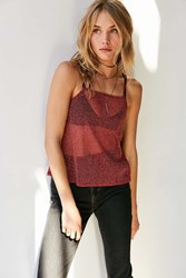 Silence And Noise Glitter Mesh Cami Red Multi
