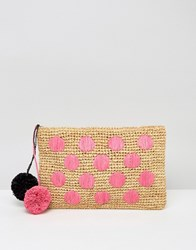 Asos Beach Straw Spot Clutch Bag With Poms Multi