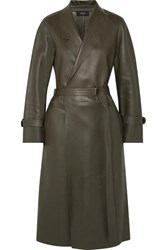 Joseph Solferino Oversized Leather Trench Coat Army Green