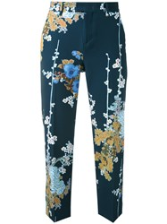 Pt01 Floral Print Cropped Trousers Women Polyester Spandex Elastane 38 Blue