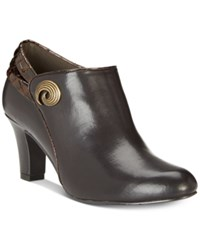 Easy Street Shoes Whisper Booties Brown Patent Croco