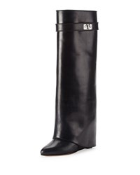Givenchy Shark Lock Fold Over Leather Boot Black