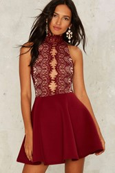Rare London Hold Court Lace Dress Red