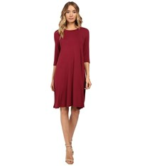 Christin Michaels Abida 3 4 Sleeve Flowy Dress Wine Women's Dress Burgundy