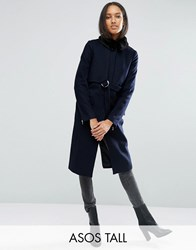 Asos Tall Coat With Faux Fur Collar And Belt In Wool Mix Navy