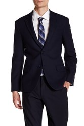 Ike Behar Navy Blue Double Button Notched Lapel Jacket