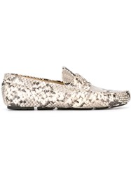 Roberto Cavalli Snakeskin Effect Loafers Grey